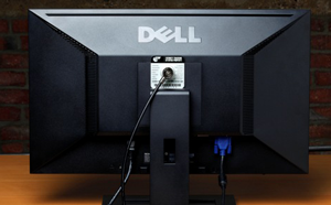 Dell computer monitor with STOP Lock attached